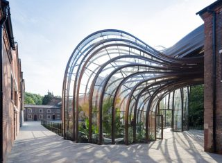 Bombay Sapphire Distillery, Whitchurch, Hampshire - View of the tropical glasshouse to the courtyard