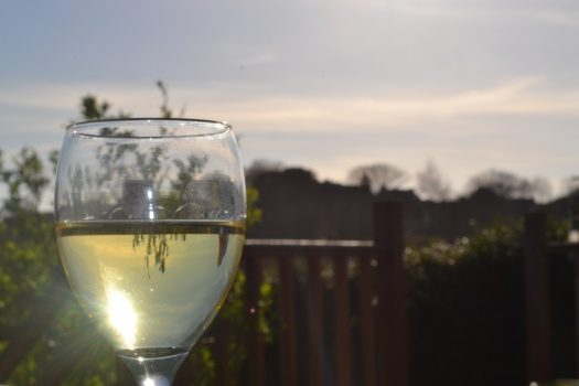 Sunlight reflecting on a wine glass